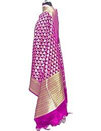 Asavari Magenta Banarasi Handloom Dupatta With Zari Floral Bouquet Weaves