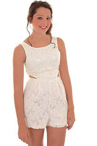 Fantasia Boutique Damen ärmellos mit Spitze verziert Häkel seitlich ausgeschnitten Strampler geschneiderte Strampelanzug - Weiß, 38