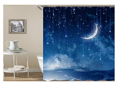 Amody Bad Vorhang für Badzimmer Mondstern Duschvorhang Stoff Antischimmel 120x180 Duschvorhang - Mathe Tag Kostüm