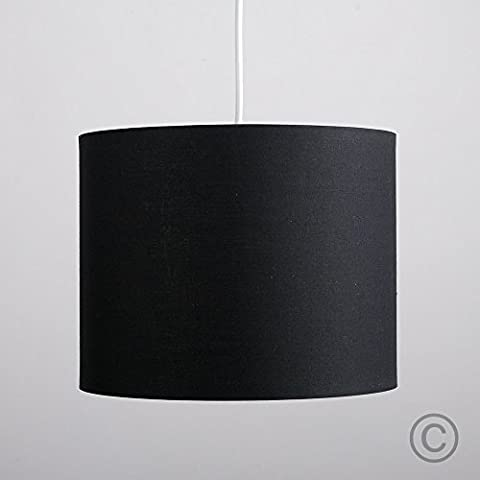 Small Modern Rolla Polycotton Black Cylinder Ceiling Pendant / Table Lamp Drum Light Shade