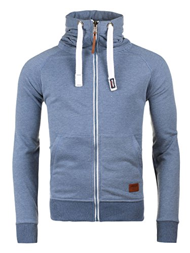 Yazubi Herren Sweatjacke Zip Hoodie Kapuzenjacke Jacob, Blau (Bijou Blue 183921), XL (Zip Sweater)