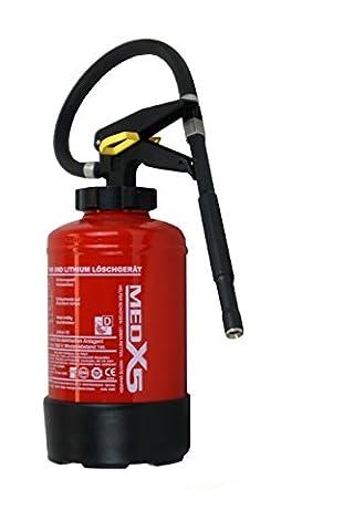 MedX5 Lithium Ionen Batterie Feuerlöscher 3L, mit flüssigem AVD, Klasse D Metallbrand Feuerlöschgerät mit Befestigung, Autofeuerlöscher, made in Germany!!