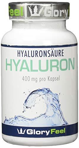 GloryFeel® Hyaluronsäure Kapseln Vergleichssieger 2019* – Plus Coenzym Q10 und Biotin – 90 Vegane Kapseln mit je 400mg reiner Hyaluronsäure 500-700 kDa Hochdosiert – Hergestellt in Deutschland