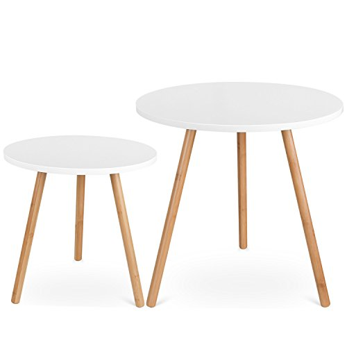 HOMFA Coffee Tables Round Side Tables Modern End Tables Occasional Tea tables Nesting Tables for Balcony and Living Room Set of 2 White - Moderne Nesting Table