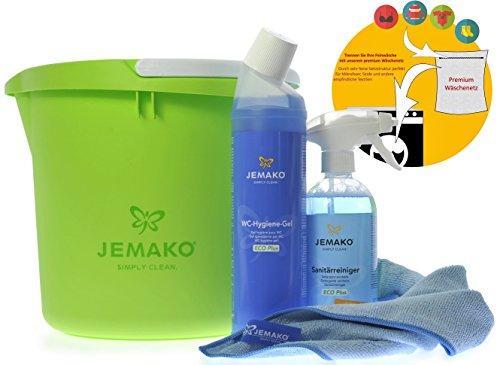 JEMAKO Set Sanitärgrundreiniger (500 ml-Flasche + Schaumpumpe) + WC-Hygiene-Gel (750 ml-Flasche) + Profituch blau (40 x 45 cm) + Wascheimer 15 L + Sinland feinmaschiges Wäschenetz