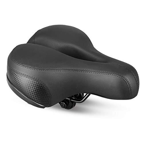 Sattel Fahrradsattel, Landnics Cityradsättel mit Druckfedern Reflektierendem Streifen Touren/Mountainbike/Rennrad für Herren und Frauen, Schwarz -