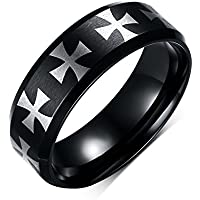 YC Top classico nero croce titanio acciaio anello uomo 8mm - Burner Tee