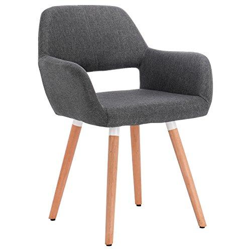 Woltu bh76dgr-1 sedia da pranzo soggiorno poltroncina con schienale stoffa lino gambe legno salotto cucina ristorante grigio scuro