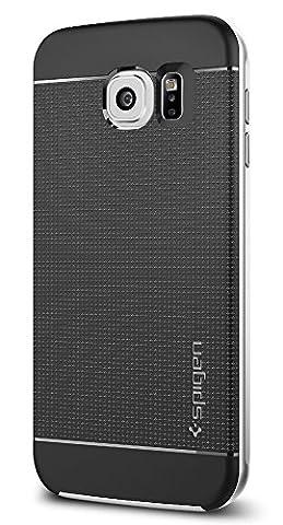 Samsung Galaxy S6 Hülle, Spigen® [Neo Hybrid] Dual-Layer Schutzrahmen [Satin Silber] TPU Schale + PC Farbenrahmen / 2-teilige Premium Handyhülle / Schutzhülle für Samsung S6 Case, Samsung S6 Cover, Galaxy S6 Case, Galaxy S6 Cover - Satin Silver