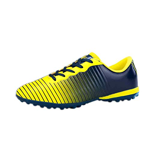 Yefree Sport Rasen Fußball Schuhe für Jungen und Mädchen mit bedruckten Stützstollen an der Unterseite des Turnschuhs mit runder Zehenschnürung - Turf Turnschuhe