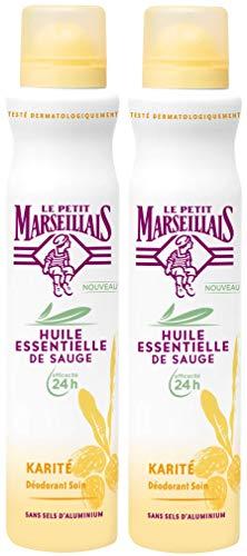 Le Petit Marseillais Déodorant Spray 24h Sauge et Karité 200 ml - Lot de 2