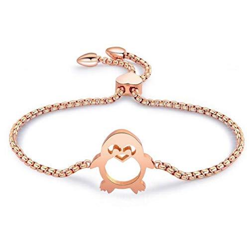 (1 Pcs Armband Damen Mädchen Frauen Armreif 316L Titanstahl Rose Golden Einfache Pinguin Mode Charm Sommer Armkettche,Verstellbar,Anti-Allergie,Geburtstagsgeschenk (Rose Gold))