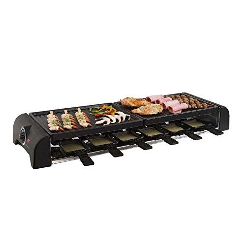 Griglia elettrica per raclette, per 12 persone, 2 piastre (12 piasrine, 1800 Watt, rivestimento antiaderente, griglia per party)