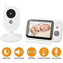 Moniteur Bébé, Babyphone Caméra Numérique Sans Fil avec Surveillance de la Température Ecran LCD 3.5 Pouces Ecoute Bébé avec Vision Nocturne Communication Bidirectionnelle