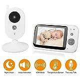 """BenyTech Babymonitor Babyphone mit Kamera 3.5"""" Funk Video Kamera Baby Monitor Babyviewer Überwachungskamera Nachtsicht/Pan&Tilt/TV out/Temperatursensor/Schlaflieder"""
