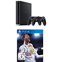 PlayStation 4 - Konsole (500GB, schwarz, slim) inkl. 2. DualShock Controller + FIFA 18 - Standard Edition