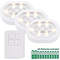 Lampe Veilleuse de Nuit de Placard a LED avec Telecommande Sans Fil a Pile Blanc Chaud 3000K, Fonctions Dimmable et Minuteur, 3 Lampes et 1 Telecommande de Enuotek