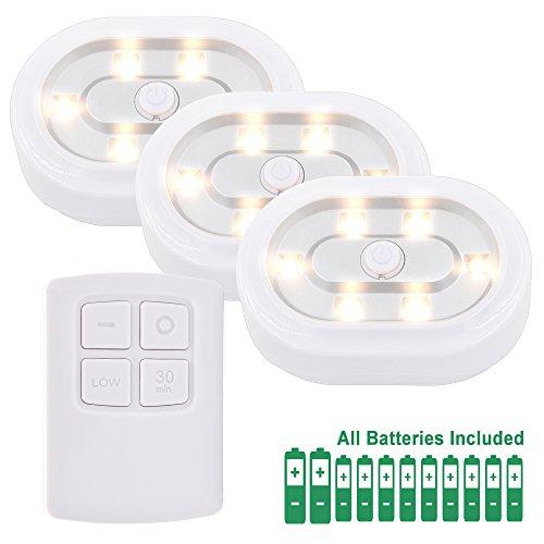 Lampe Veilleuse de Nuit de Placard a LED avec Telecommande Sans Fil a Pile...