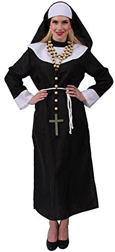Nonnenkostüm in schwarz-weiß für Damen | Größe 36 | 1-teiliges Nonnen-Kostüm mit Kopfbedeckung und Gürtel | Ordensschwester-Faschingskostüm für Frauen | Nonnengewand für Karneval