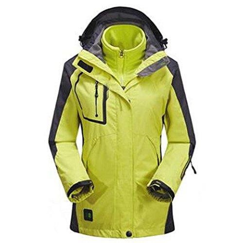 WU LAI Jacken Frauen Outdoor Sports Abnehmbare Zweiteilige Sport Outdoors Mountain Wear Hersteller Versorgung,Fluorescentgreen-L (Wear Wu Jacke)