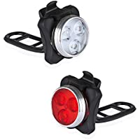 Defurhome Bike Light Set, 650mAh USB Rechargeable Headlight and Taillight LED Waterproof Bike Light Set,4 Light Mode Options, 2 USB cables,Ideal for Camping, Cycling, Hiking or Mountain Biking