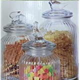Star Point Round Glass Jar With Glass Designer Cap Set Of -3 Different Size Good Quality 1.5 Kg,1 Kg,750gm Glass Jar Air Tight Cap Rust Proof Jar Container With Airtight Cap Container Sets Suitable To Use In Your Friends Gift, Home, Office, Kitchen Etc.