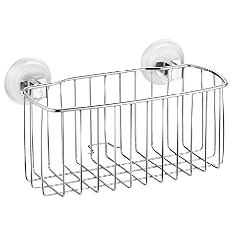 InterDesign Power Lock Suction Reo Bathroom Shower Caddy for Shampoo, Conditioner, Soap - Regular, Stainless
