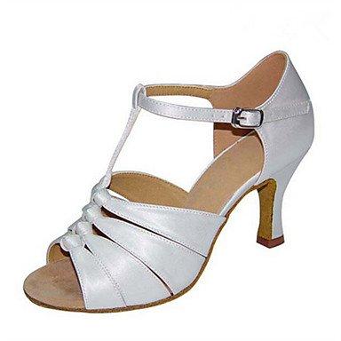 Silence @ Chaussures de danse pour femme en satin Latin Jazz Swing Chaussures Salsa Sandales Heelpractice débutant Professional Silver