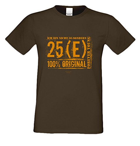 Zum 30. Jubeltag Stylisches Herren Happy-Birthday Geburtstags-tshirt als Top Geschenke-Idee für alle Anlässe Motiv: Ich bin nicht 30 Farbe: braun Braun