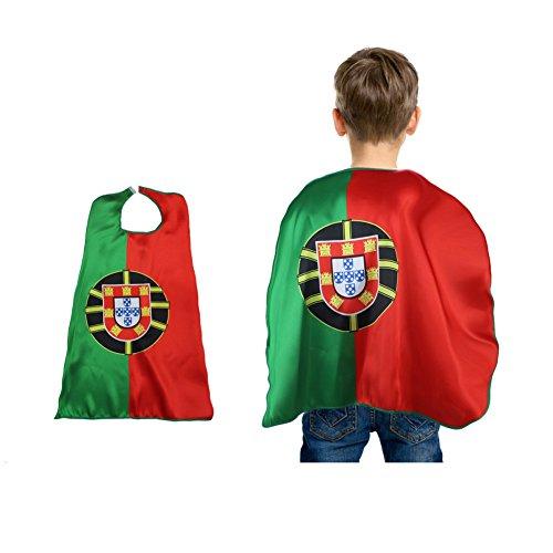 Moresave Kinder Robe Portugal Fahne 2018 WM, Nationalflaggen Mantel Kostüme Fußballfans Capes Outfits (Portugal Mantel)