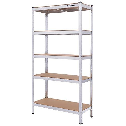 Songmics scaffale di organizzazione per garage, scaffalatura di dimensioni di 90 x 40 x 180 cm, ripiano a clip, capacità di carico fino a 875 kg, in metallo zincato glr40sv