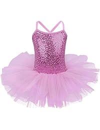 f59ebed20 FONLAM Vestido Maillot de Ballet para Niña Vestido Danza Gimnasia Patinaje  Tutú Ballet Niña Brillante (