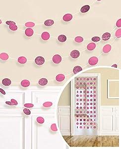 Amscan International-672424-103-2,13m color rosa brillante Glitter cadena Kit de decoración