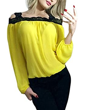 Rcool Mujeres de Fuera del Hombro de Manga Larga de Encaje Blusa de Gasa Suelta Camiseta