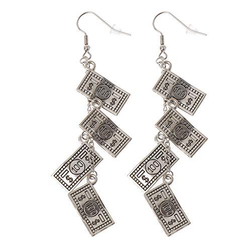Amarzk antike Splitter 100 Dollar Bill Geld Währung Muster baumeln Ohrringe für Frauen