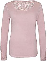 Urban Surface Damen Vintage Longsleeve mit Spitze | Elegantes Langarmshirt mit Rundhalsausschnitt aus leichter Viskose