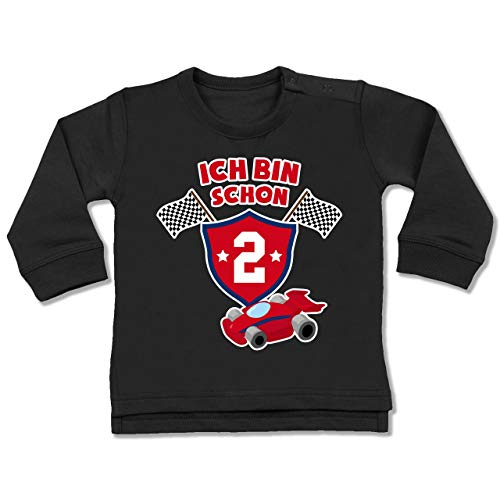 Shirtracer Geburtstag Baby - Ich Bin Schon 2 Rennauto - 18-24 Monate - Schwarz - BZ31 - Baby Pullover