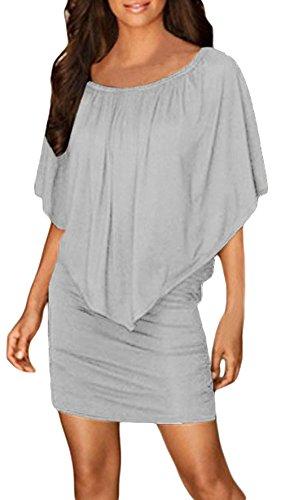 La Vogue Femme Robe Hanche Epaule Col Bateau Moulante Party Blanc