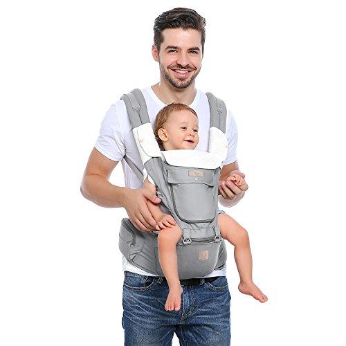 GAGAKU Babytrage mit Hüftsitz Ergonomische Kindertrage 8 Tragepositionen für Kinder 0-36 Monate Neugeborenes - Grau