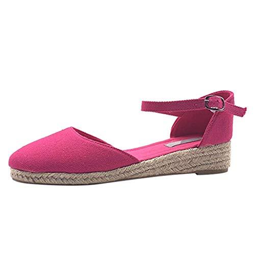 alle Knöchelriemen Sandalen Wedges Sandalen Sommer Weben Atmungsaktive Schuhe Einfarbige Keilsandalen mit Großen Damenschuhen von Baotou Sommer Wedges Sandalen ()