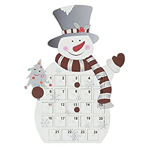 Mr Crimbo Standing Snowman Christmas Wooden Advent Calendar 24 Removable Trays Drawers Boxes Add Your Own Gift Sweet Treat Child