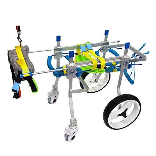 LMCWSTC Hundehaustier-Rollstuhl, Kinderwagen, Trainingsfahrzeug für die Heimtierrehabilitation, Beinrehabilitation vorne/hinten, 4-Rad-Hunderad, Geeignet für große kleine Hunde, Hinterbeine, Rehabil (Vorne Rollstuhl Räder)
