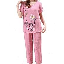 HUIFANG Conjunto De Pijamas para Damas Algodón Suelto Gran Tamaño Comodidad Manga Corta Casa XL-