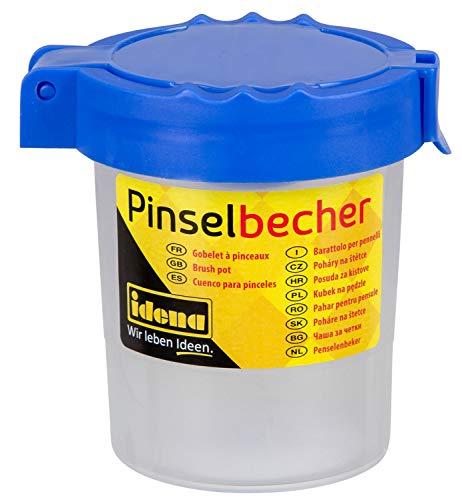 Idena 623031 - Pinselbecher mit Deckel, Kunststoff, blau, 1 Stück Wasser Becher