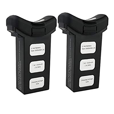 HYF STONE 7.4V 2500mAh Drone LiPo Battery for Holy stone HS100 SJRC S70W T35 HS100G MQ001 Quadcopter spare parts(2PCS) Black