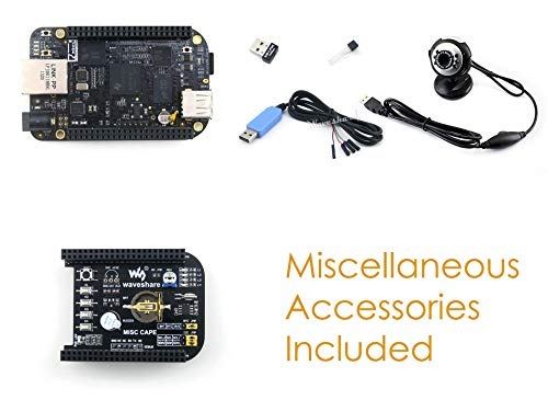 Waveshare BeagleBone Black Rev C Development Board Mini PC 512MB DDR3 4GB 8bit eMMC 1GHz ARM Cortex-A8 + Expansion Board CAPE + USB Camera + Cables - 512 Mb Mini Usb