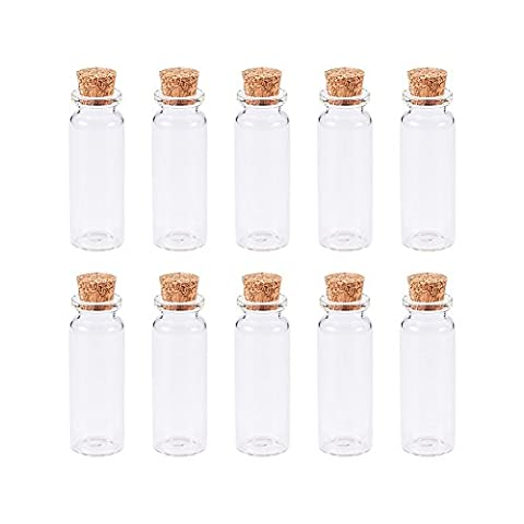 PandaHall 10 Pcs Clear Bead Containers Glass Bottles with Cork Tops, 22x62mm