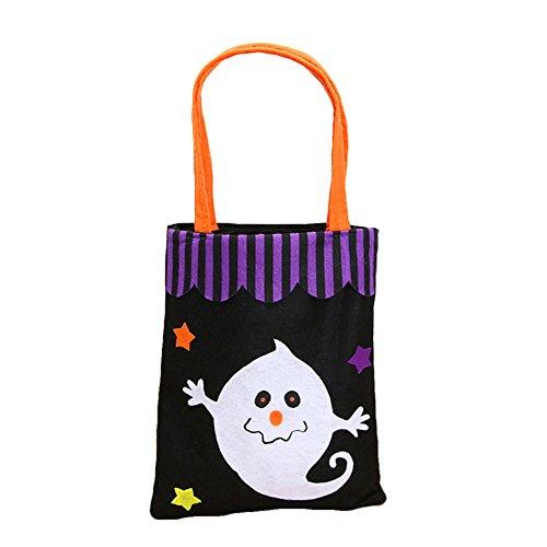 UxradG Handtasche, Vliesstoff, Bühneneigenschaften, Kürbisbeutel, mit Vintage-süßem Geist, Kürbis-Design, für Halloween, niedliche längliche Charakteristik, Black Ghost (Mit Geist Halloween Outdoor-dekorationen)