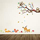 LETAMG Stickers Muraux Cartoon Forest Tree Animal Stickers Muraux pour Enfants Chambres Enfants Chambre Sticker Déco Décor À La Maison Mural...