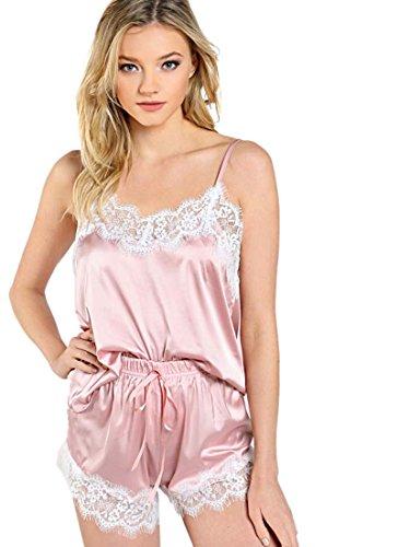 DIDK Damen Spagehtti Träger Satin Top und Shorts Pyjama Set mit Spitzen Rosa XS (Pj Top)